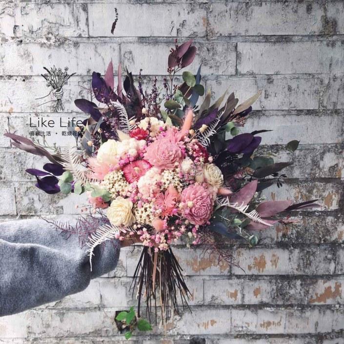 韓式扇型手綁乾燥捧花-個性紫粉色