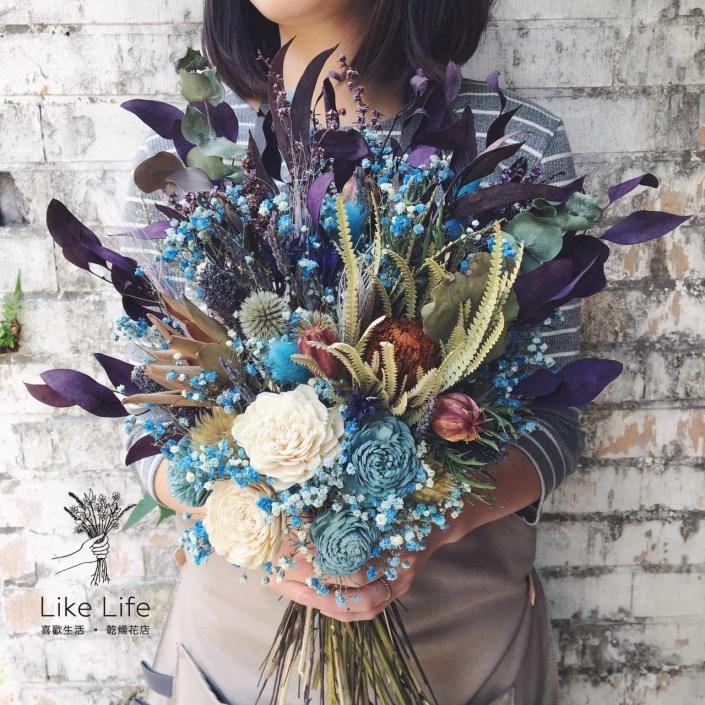 韓式長型手綁乾燥捧花-自然紫藍色系