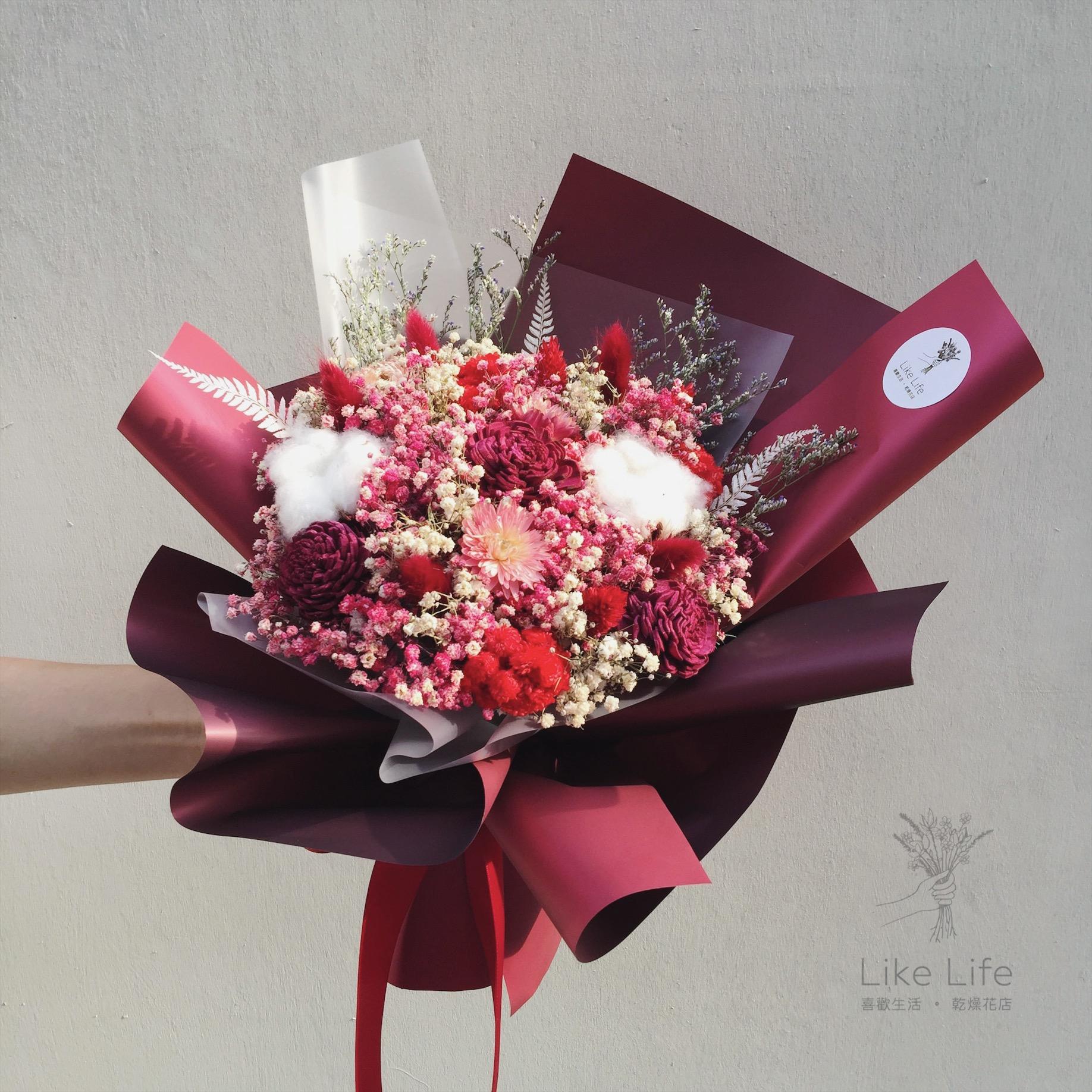 母親節喜歡生活乾燥花店中型韓式乾燥花束-2018流行大地裸紅色