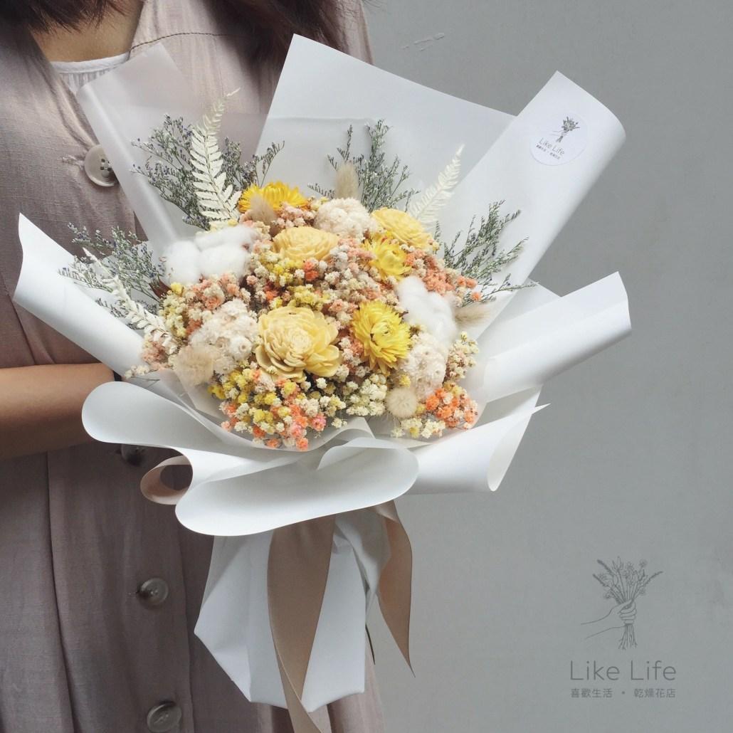 情人節花束白色意境,白色乾燥花束,喜歡生活乾燥花