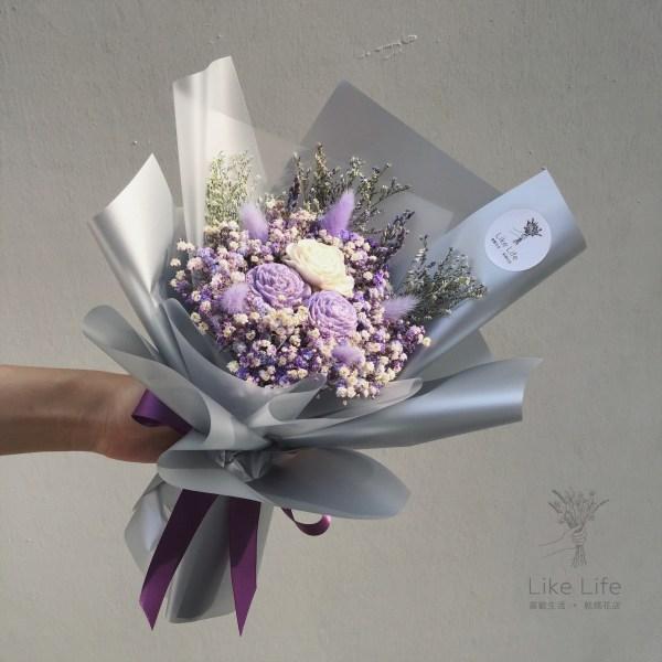 韓式包裝乾燥花束紫色封面,台北喜歡生活乾燥花店