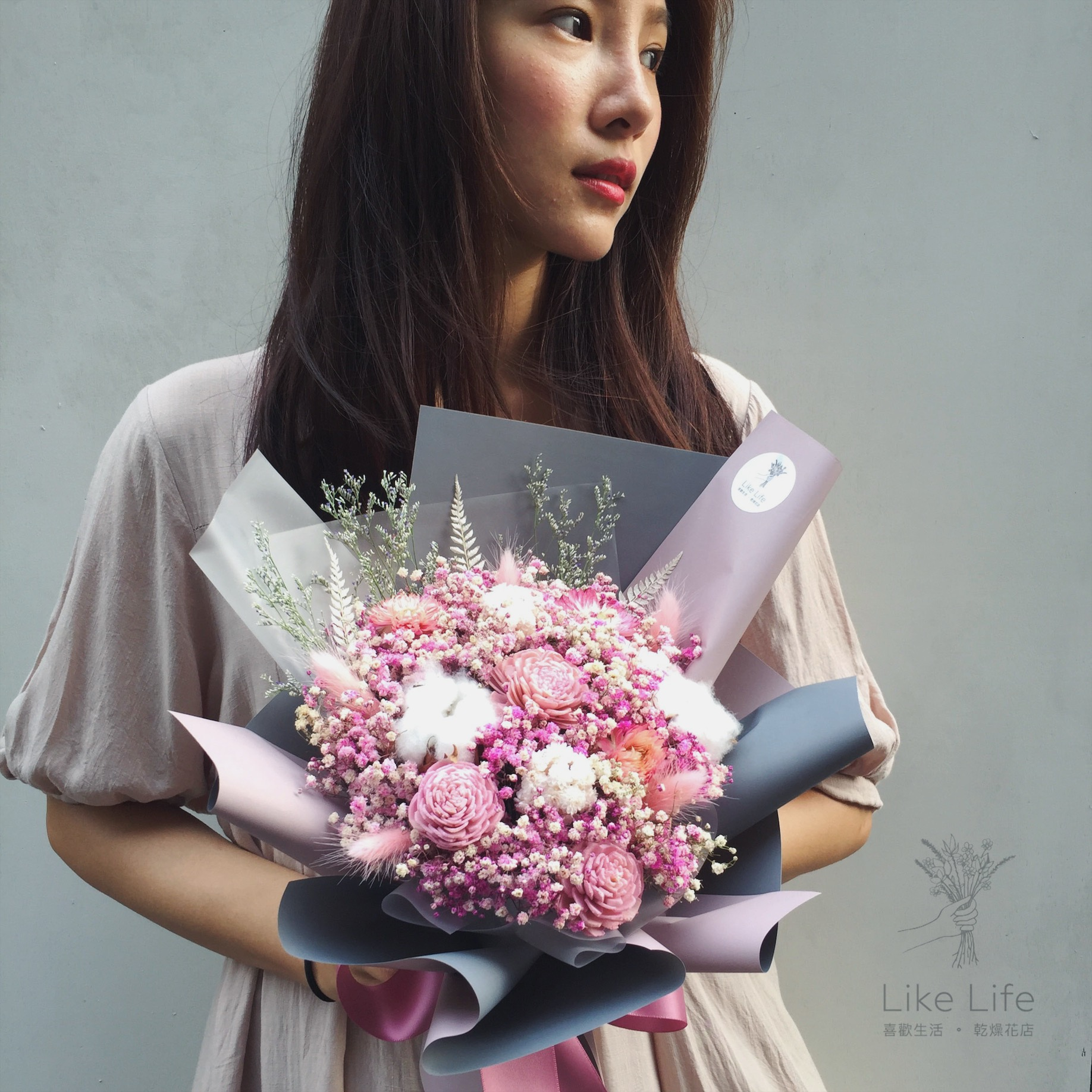 母親節乾燥花束推薦,粉色乾燥花束,喜歡生活乾燥花店