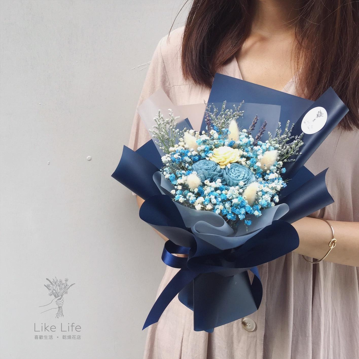 乾燥花束湛藍色,乾燥花永生花店推薦