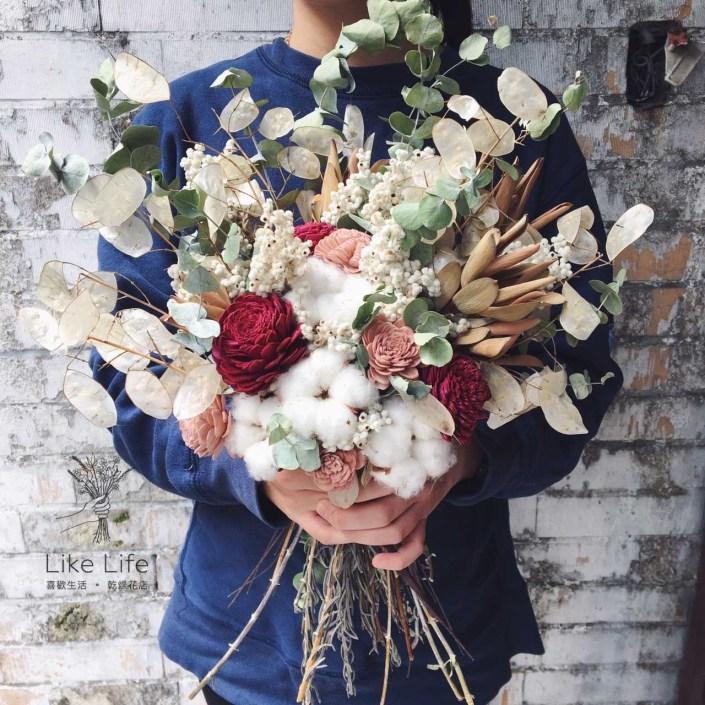 韓式扇型手綁乾燥捧花-隨興手扎款