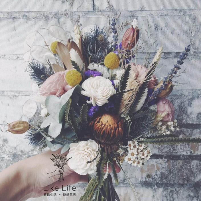 韓式長型手綁乾燥捧花-個性森林系