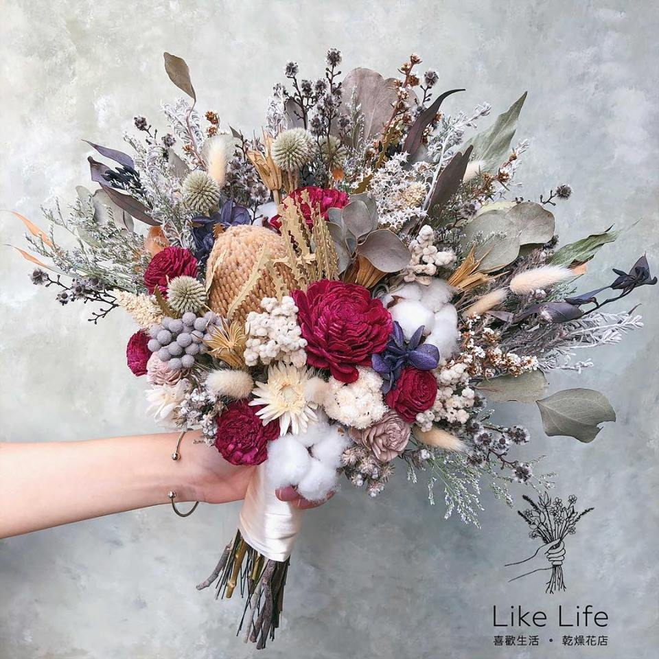 韓式長型手綁乾燥捧花-自然紅