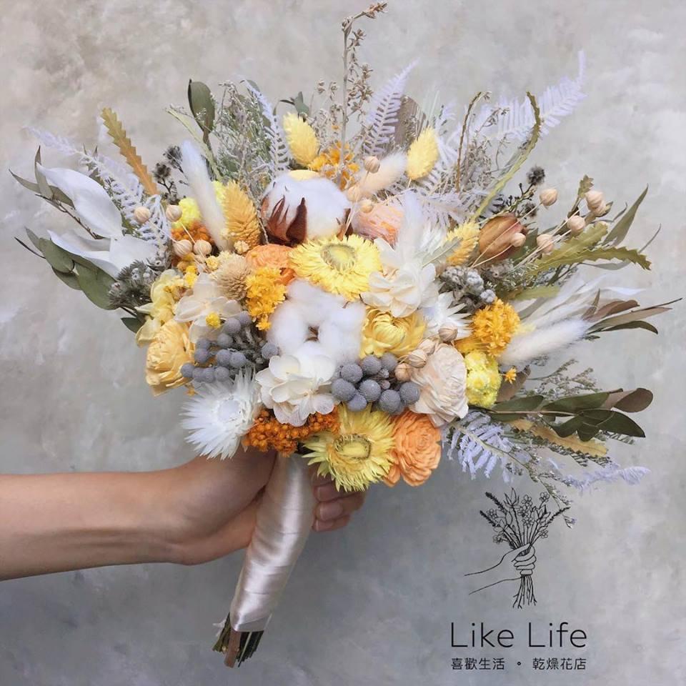 韓式長型手綁乾燥捧花-自然黃