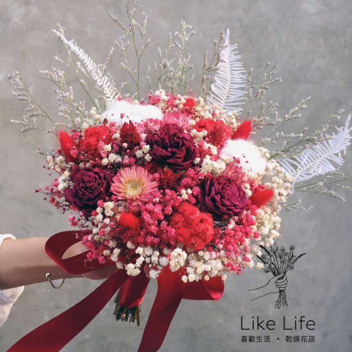 設計款乾燥新娘捧花-紅色系