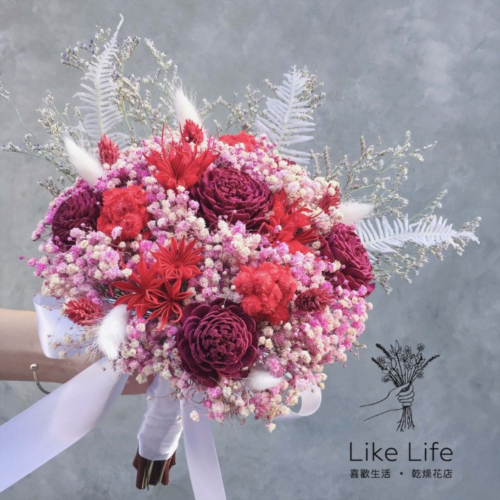 手綁款乾燥新娘捧花-玫瑰紅