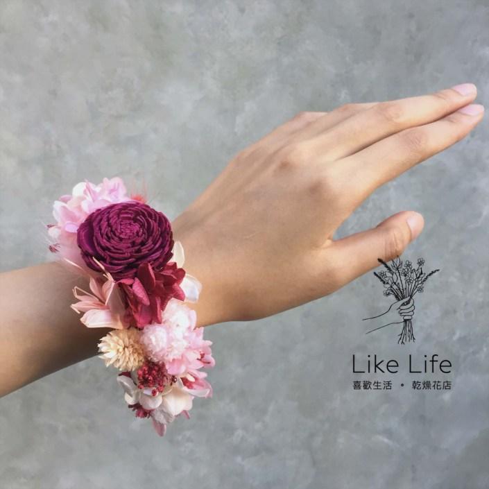 永生花手腕花-紅粉色
