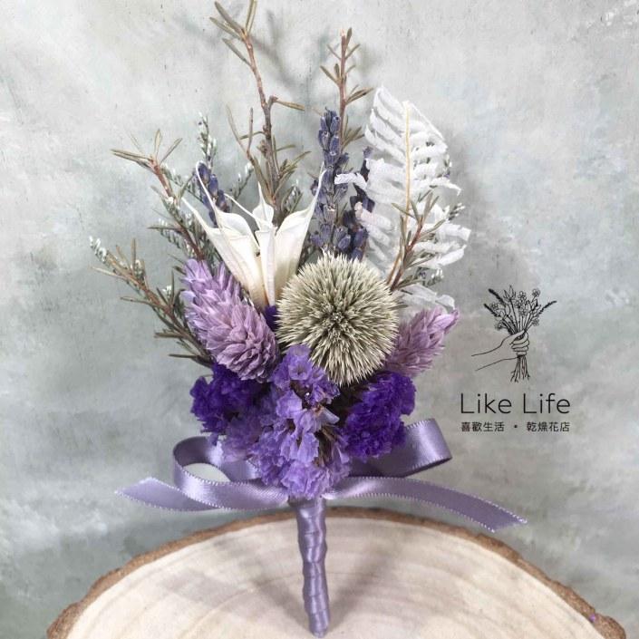 設計款乾燥花胸花-自然藍