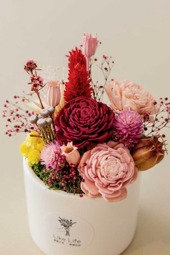 乾燥花盆栽中型紅色特寫,乾燥花盆栽推薦台北
