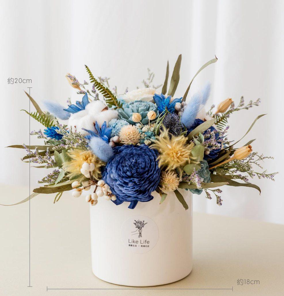 乾燥花開幕盆栽,藍色乾燥花盆栽開幕尺寸