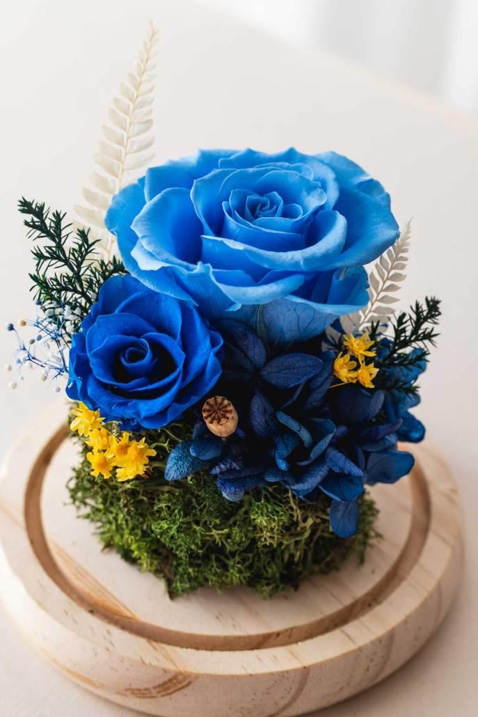 永生花玻璃盅罩-永生花淺藍(近1)