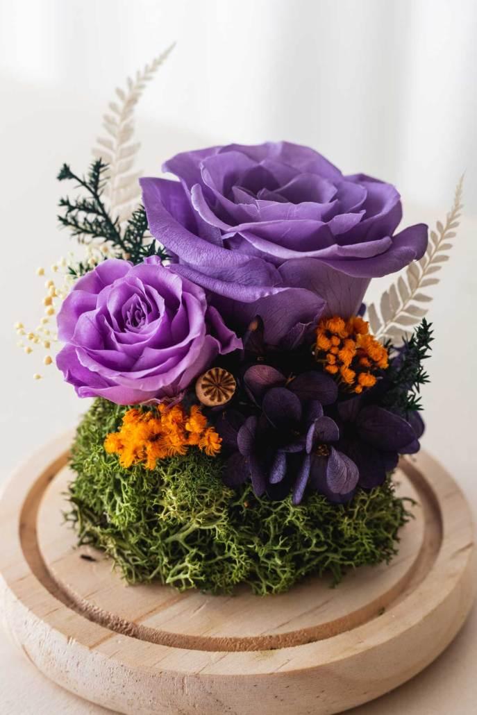 永生花玻璃盅罩-永生花紫(近1)