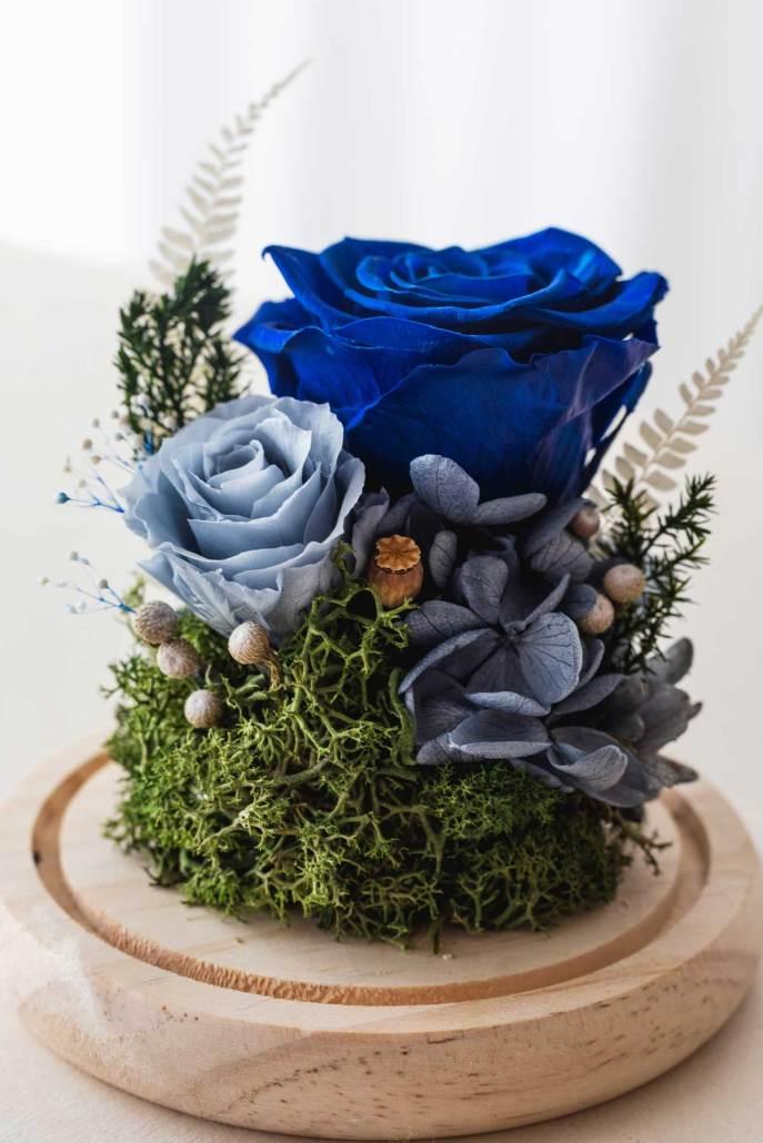 永生花玻璃盅罩-永生花藍色(近1)