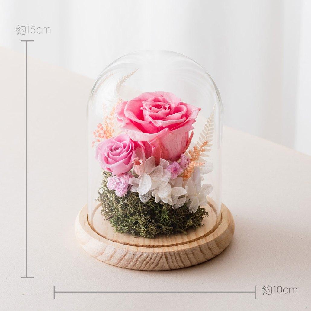 永生花玻璃鐘罩-粉色尺寸照片