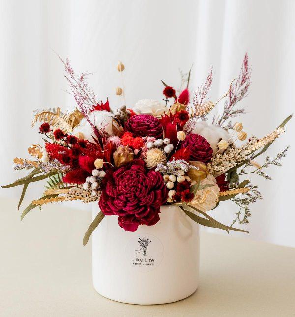 乾燥花盆栽紅色首圖,乾燥花盆栽推薦台北