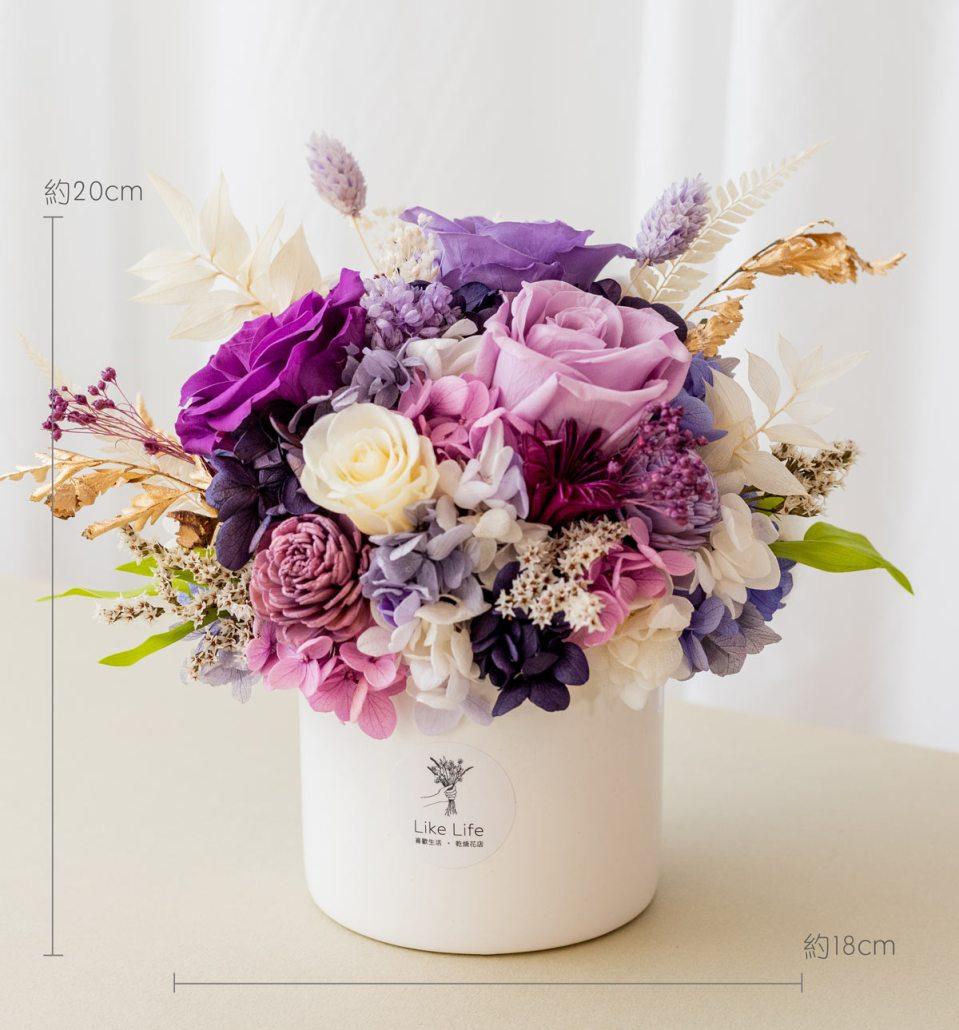永生花開幕盆栽,紫色永生花盆栽開幕尺寸