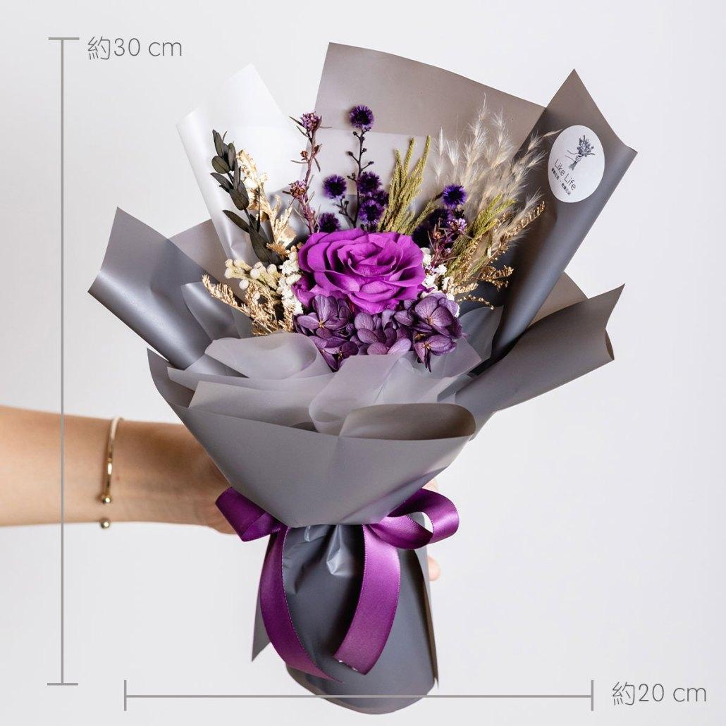 永生花束紫色,永生花公分照片