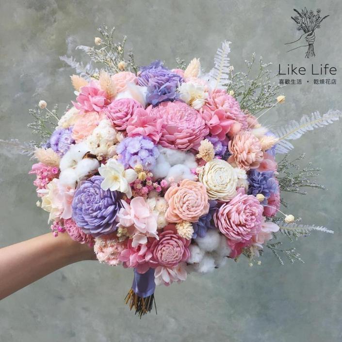歐式圓型不凋花捧花-粉紫色
