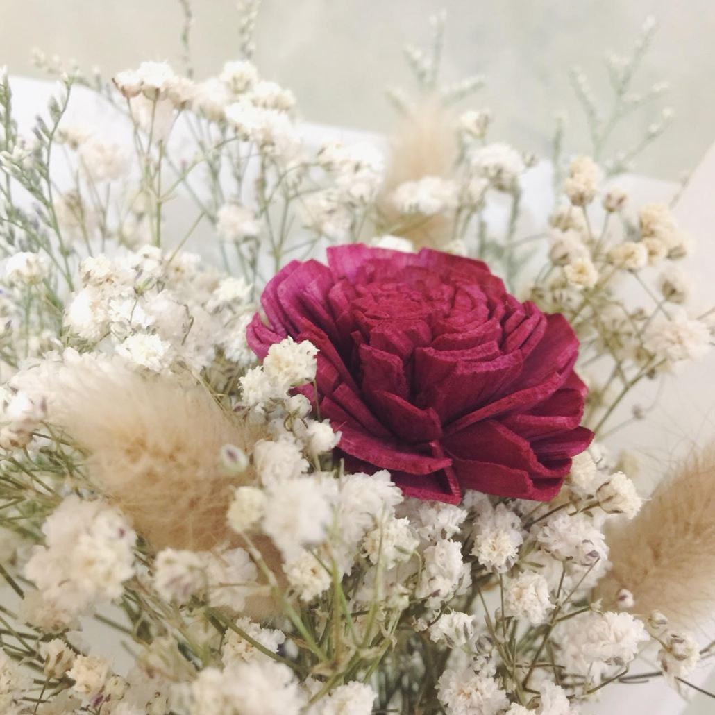 乾燥花束包裝課程2019,木玫瑰花滿天星