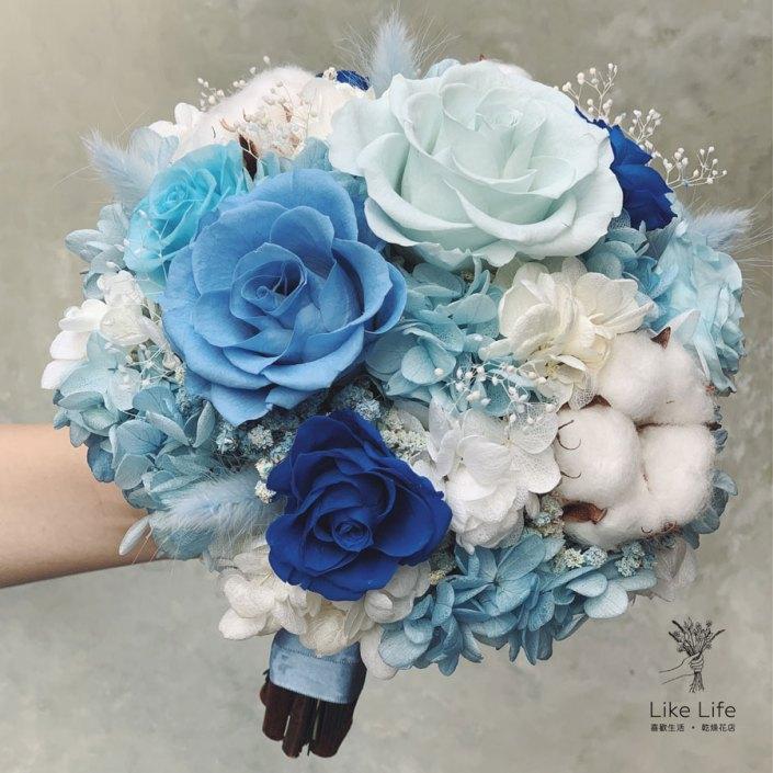 永生花新娘捧花,藍色系永生花捧花