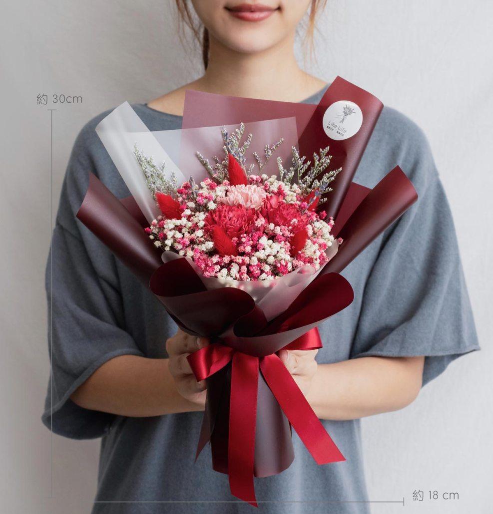 康乃馨乾燥花束紅色-台北喜歡生活乾燥花店