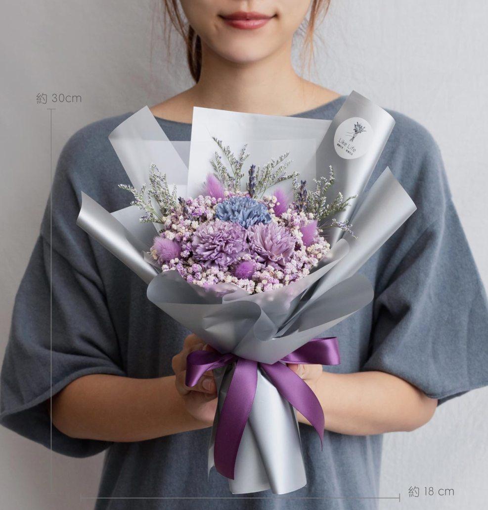 康乃馨乾燥花束紫色-台北喜歡生活乾燥花店