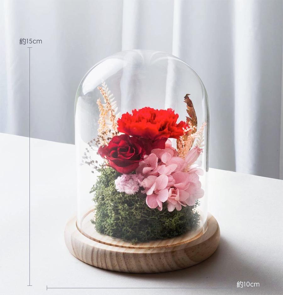 母親節永生花康乃馨玻璃罩   紅色母親節康乃馨推薦-臺北喜歡生活乾燥花店