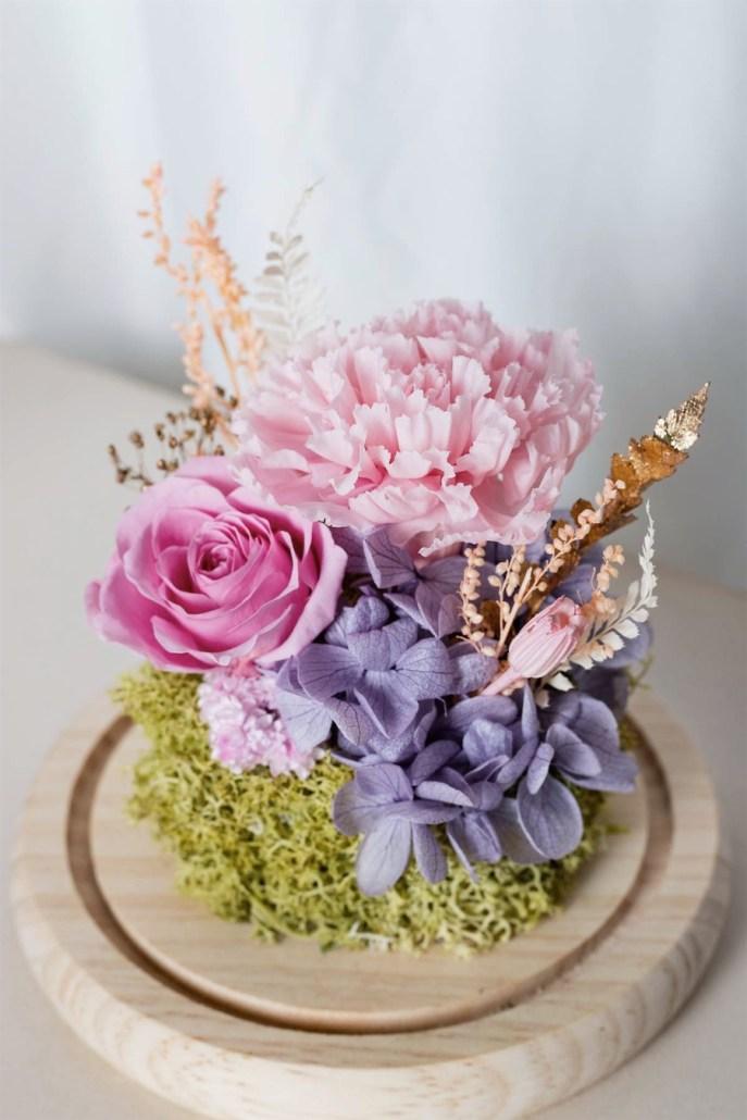 母親節粉色永生花康乃馨特寫-台北喜歡生活乾燥花店