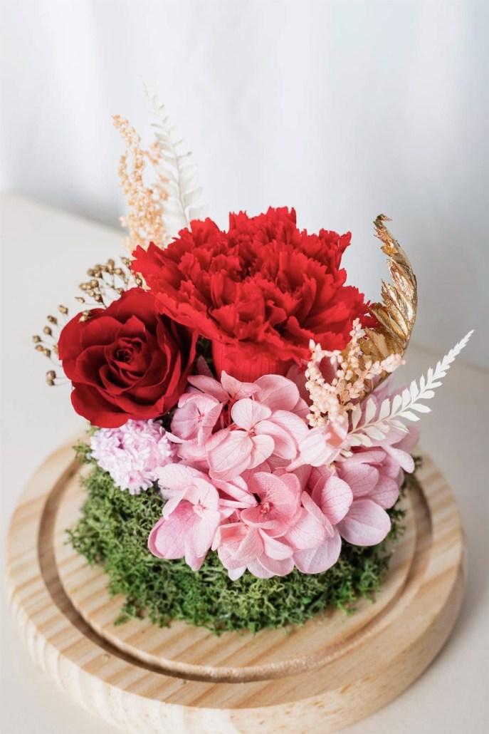 母親節紅色永生花康乃馨特寫-台北喜歡生活乾燥花店