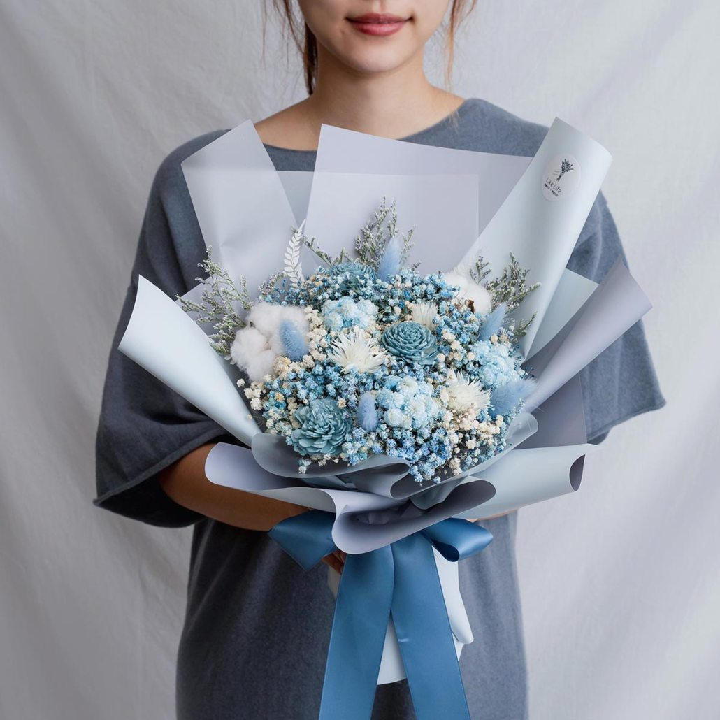 求婚乾燥花束推薦,台北求婚玫瑰乾燥花束藍色,喜歡生活乾燥花店