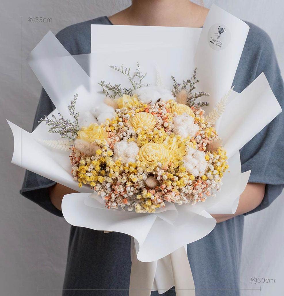 求婚乾燥花束推薦,台北求婚玫瑰乾燥花束黃色,喜歡生活乾燥花店公分
