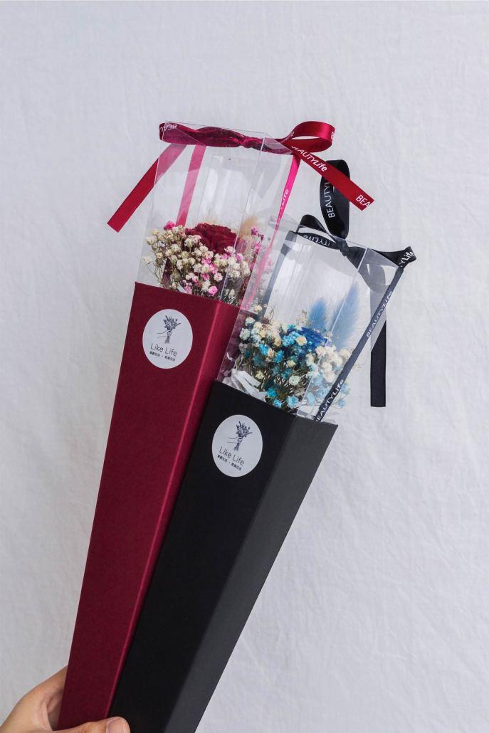 畢業花束推薦台北,單支乾燥花畢業花束-台北喜歡生活乾燥花店,紅色,黑色畢業花束特寫2台北