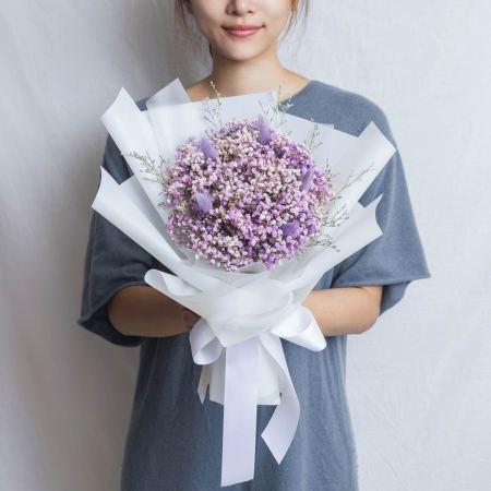 畢業花束推薦台北,滿天星紫色乾燥花畢業花束,台北喜歡生活乾燥花店封面