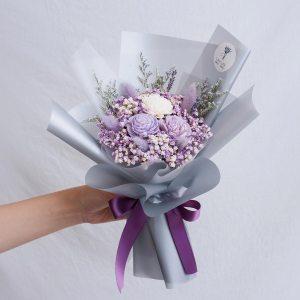 紫色玫瑰乾燥花束,玫瑰乾燥花束紫色封面,台北喜歡生活乾燥花店