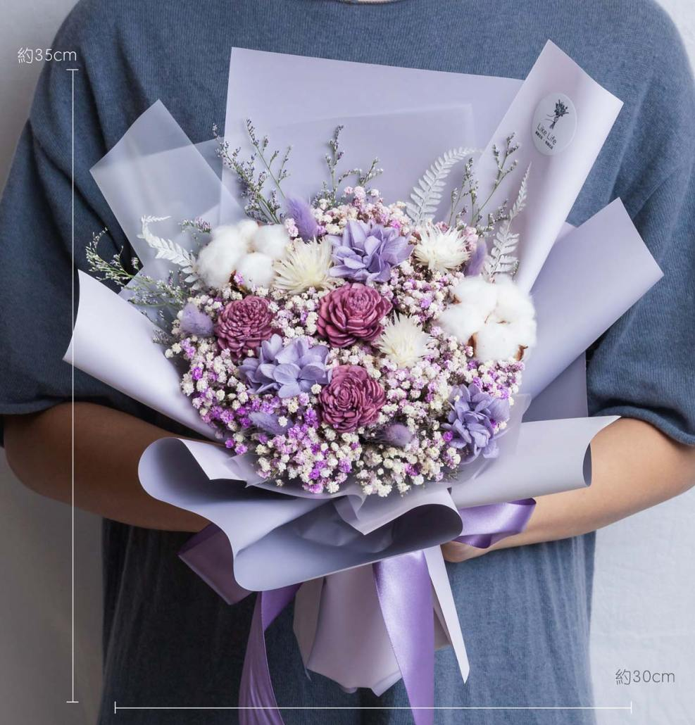 紫色求婚花束推薦,台北求婚乾燥花束紫,喜歡生活乾燥花店公分