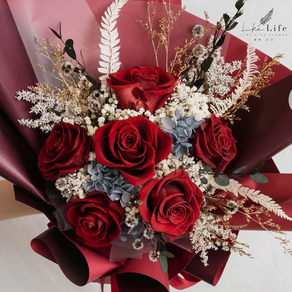 永生花束紅色特寫,永生花束紅色台北乾燥花店