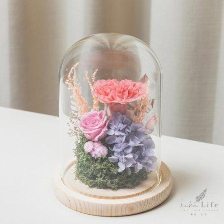 母親節永生花玻璃罩粉色永生花康乃馨