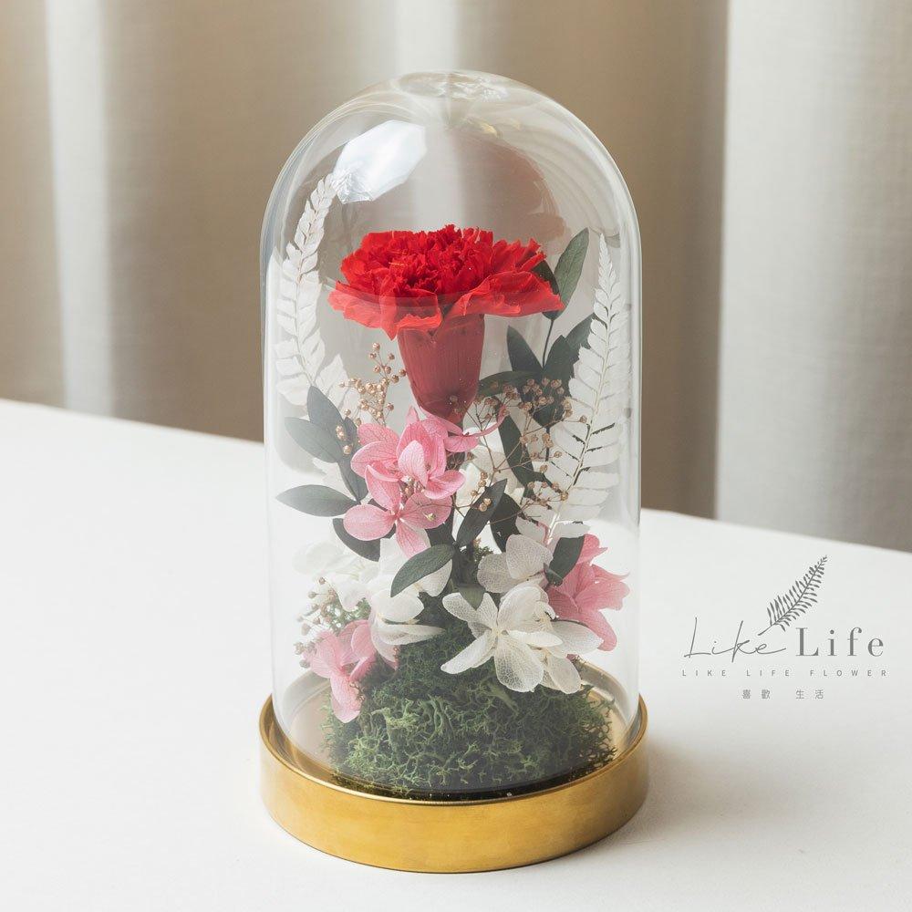 母親節永生花康乃馨花束紅色,永生花康乃馨玻璃罩推薦