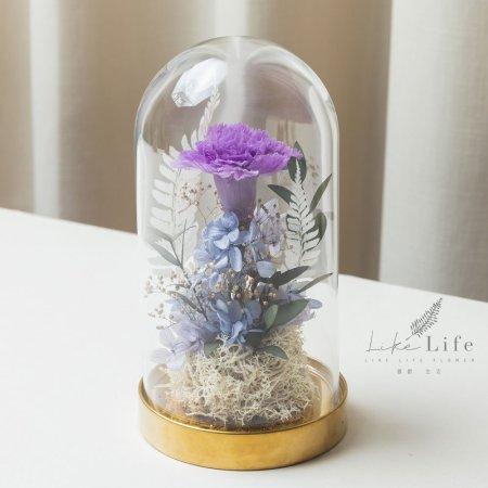 母親節永生花康乃馨花束紫色,永生花康乃馨玻璃罩推薦
