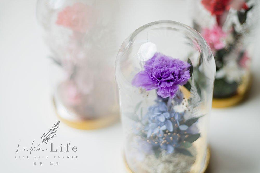 母親節永生花康乃馨花束紫色,永生花康乃馨玻璃罩推薦近照
