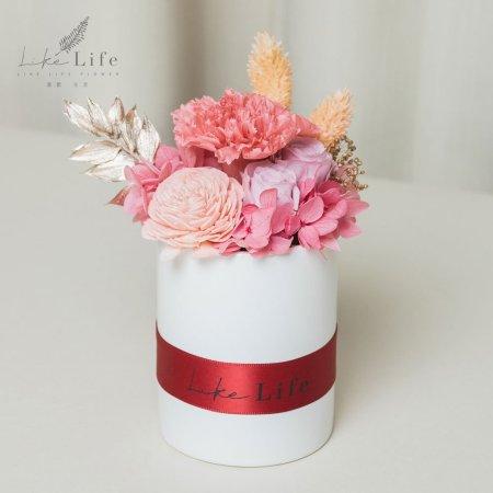 母親節永生玫瑰花盆栽粉色永生花康乃馨