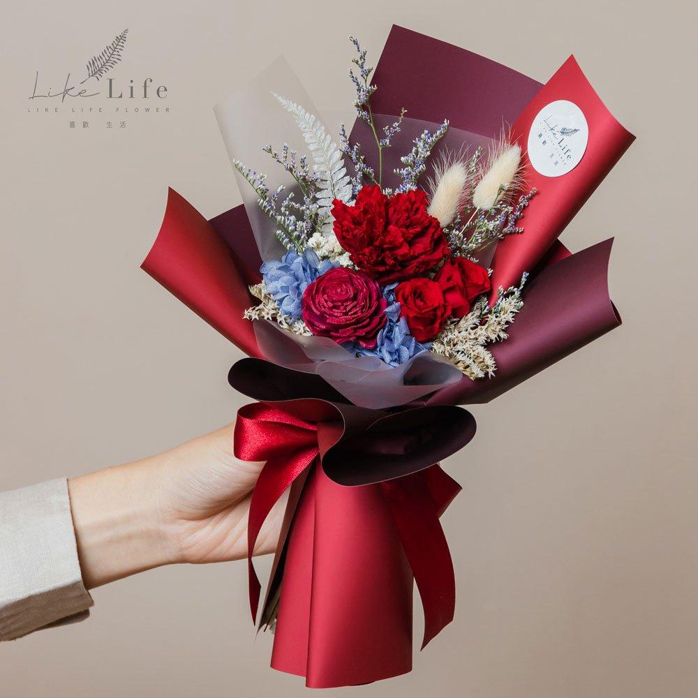 母親節康乃馨花束,康乃馨永生花束紅色手拿台北花店