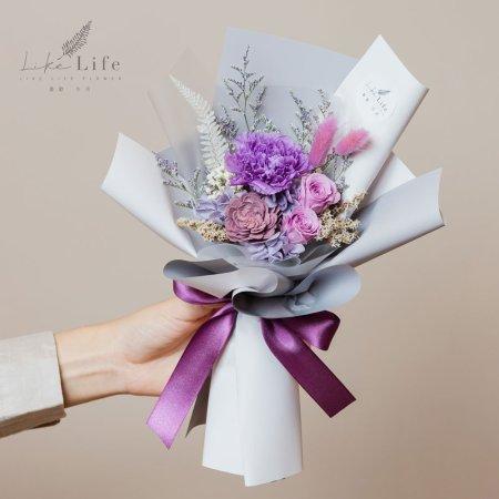 母親節康乃馨花束,康乃馨永生花束紫色手拿台北花店