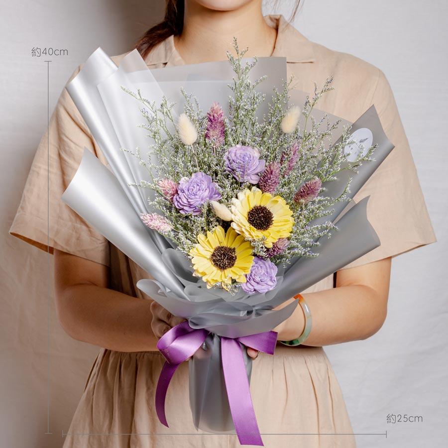 畢業花束推薦,向日葵畢業花束,紫色向日葵畢業花束