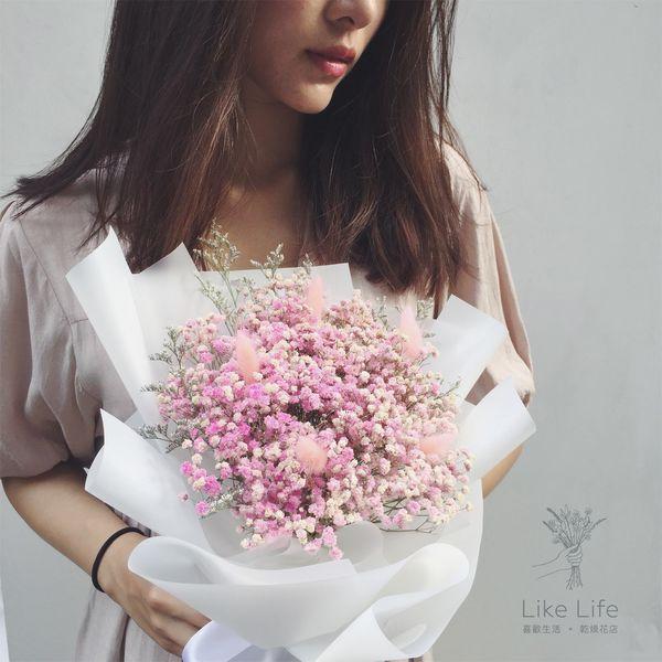 畢業花束乾燥花滿天星粉色,滿天星畢業花束