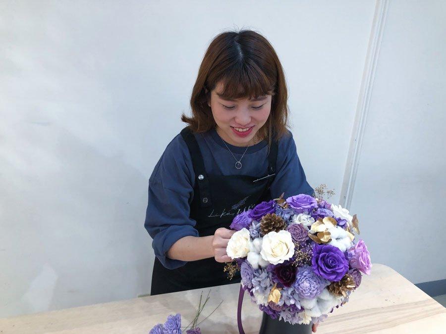畢業花束推薦,花藝設計師畢業花束,紫色畢業乾燥花束