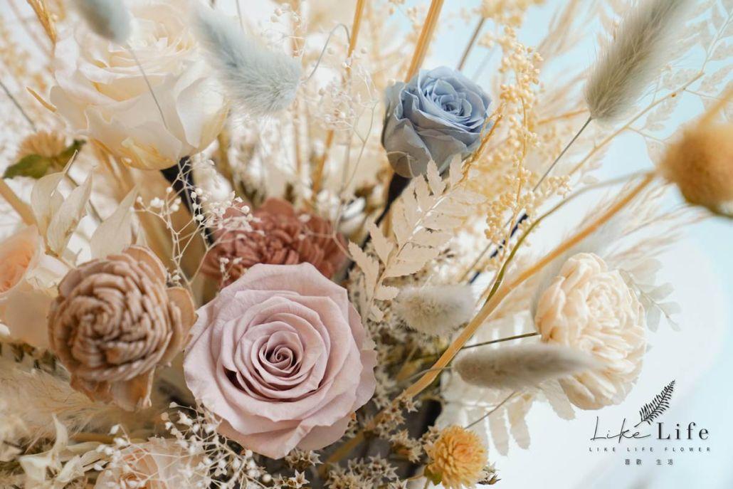 開方式永生花盆花特寫,永生玫瑰花盆栽,手作花藝課程